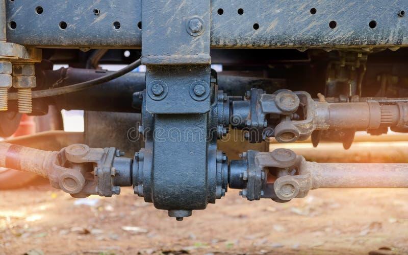 Drive shaft metal steel transmission for rotating applications. Drive shaft metal steel transmission for rotating applications in truck royalty free stock images