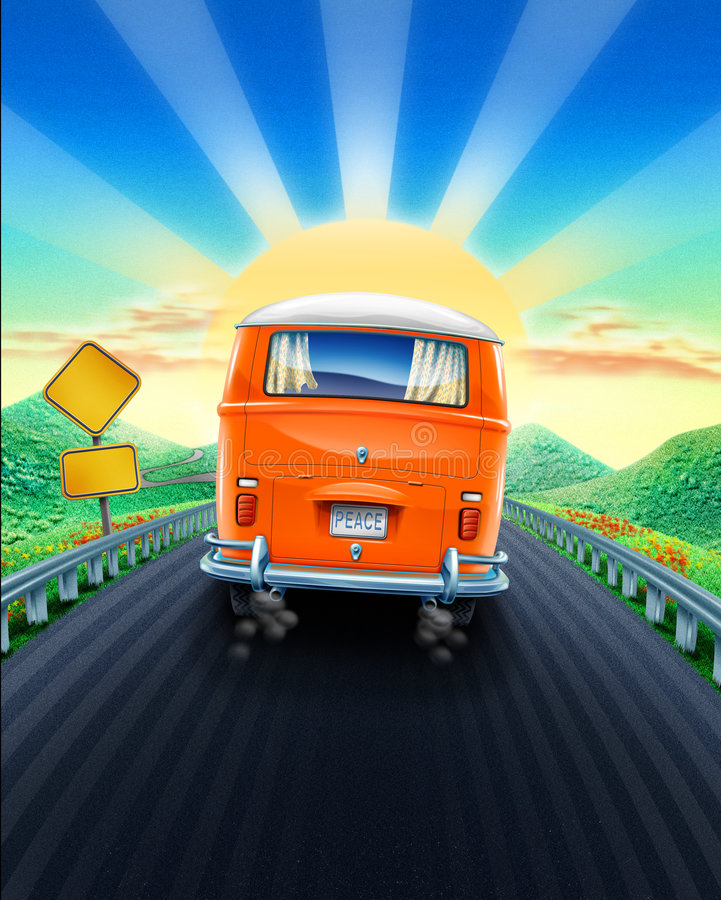 Drive into sunset. Hippie van driving on a trip into sunset down a winding road in the mountains. What could the road sign say royalty free illustration