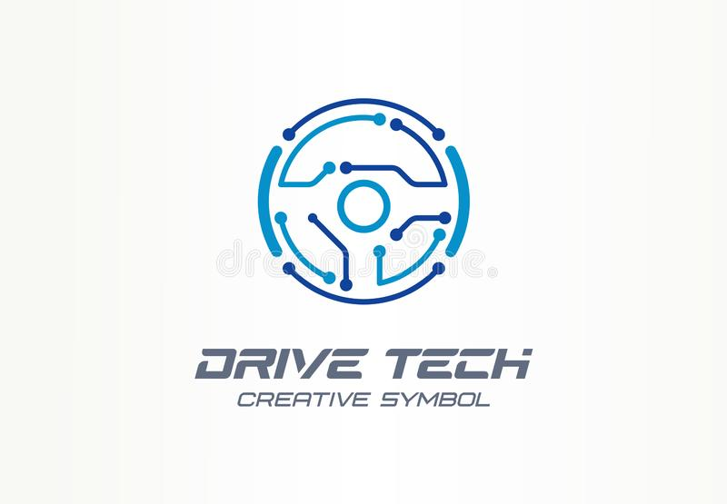 Drive tech creative symbol concept. Autonomous car, futuristic auto technology abstract business logo. Driver less. Vehicle, vr steer wheel icon. Corporate stock illustration
