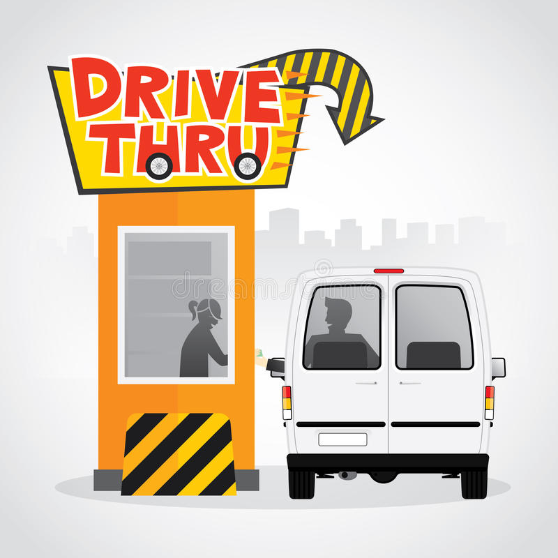 Drive thru. Sign. Illustration of a customer services at the  lane vector illustration