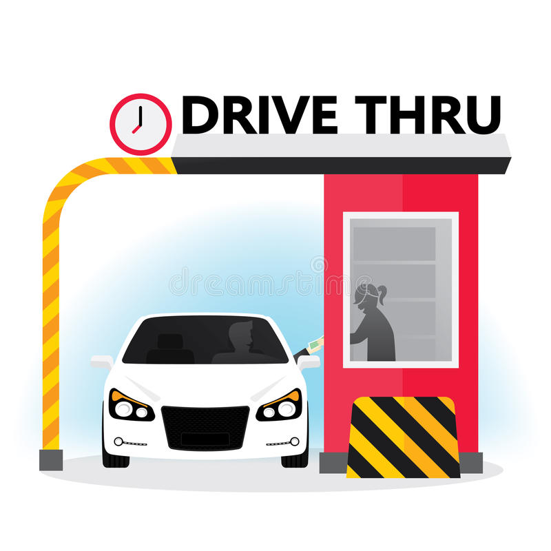 Drive thru. Sign. Illustration of a customer services at the  lane stock illustration