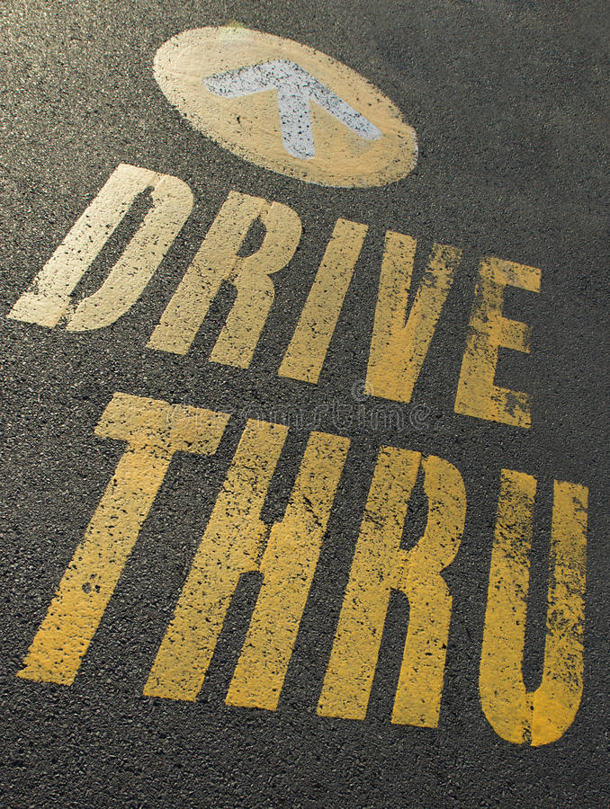 Drive thru sign stock image
