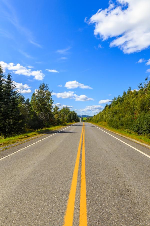 Drive the Route de sommets. Drive to the summit, scenic drive in Quebec stock photo