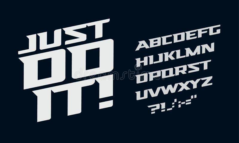 Drive vector alphabet. Race modern serif font. Dynamic movement letters set. White bold italic typeset on dark. Background vector illustration