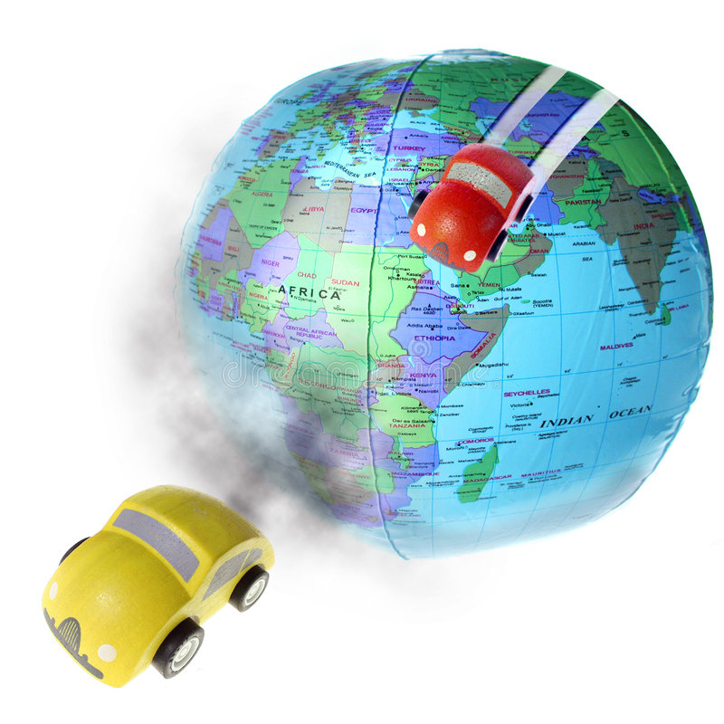 Drive world polution. Poluting the earth with car exhaust fumes. Polution and global warming due to car traffic driving across world. yellow and red car smoke royalty free stock photo