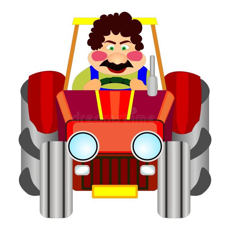 Driver allegro del trattore illustrazione vettoriale