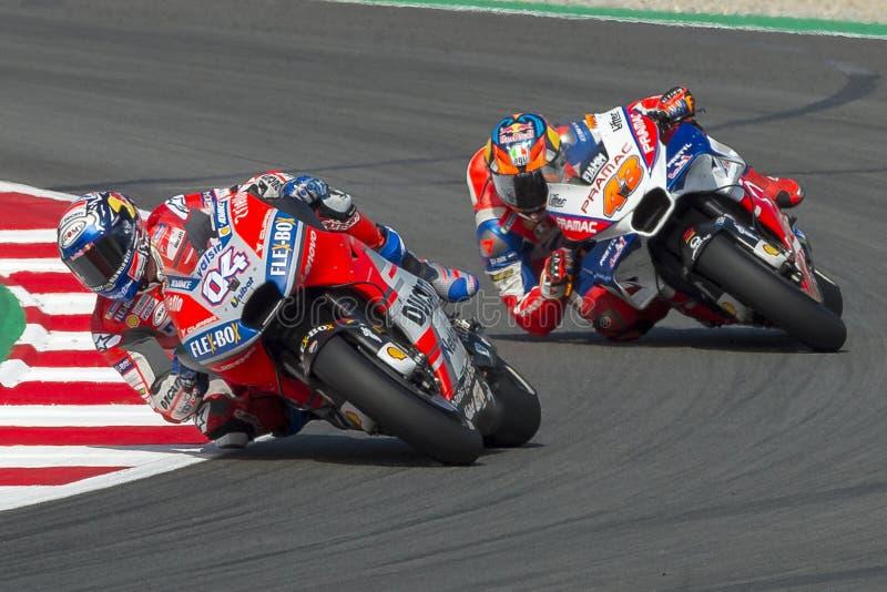 Driver Andrea Dovizioso. Monster Energy Grand Prix of Catalonia MotoGP. At Circuit of Catalonia. Barcelona, Spain, June 16, 2018 royalty free stock image