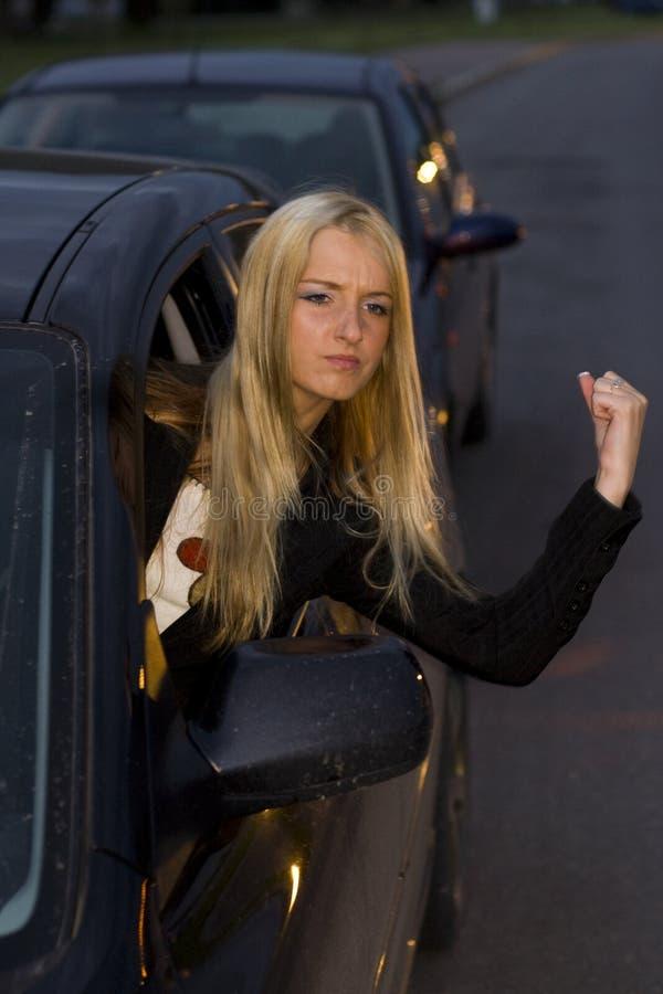 Driver arrabbiato della donna fotografia stock