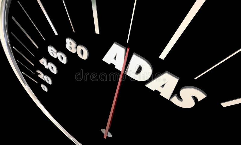 Driver avanzato Assistance Systems Speedometer di ADAS illustrazione di stock