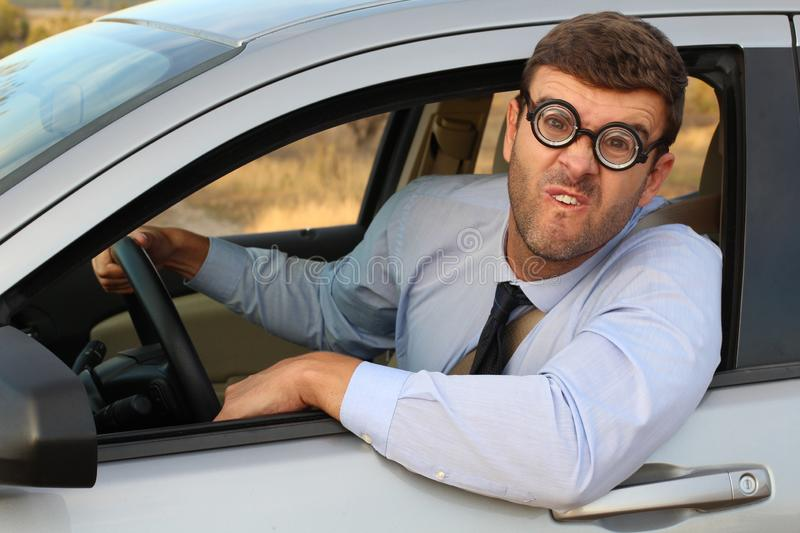 Driver with really bad vision stock photo