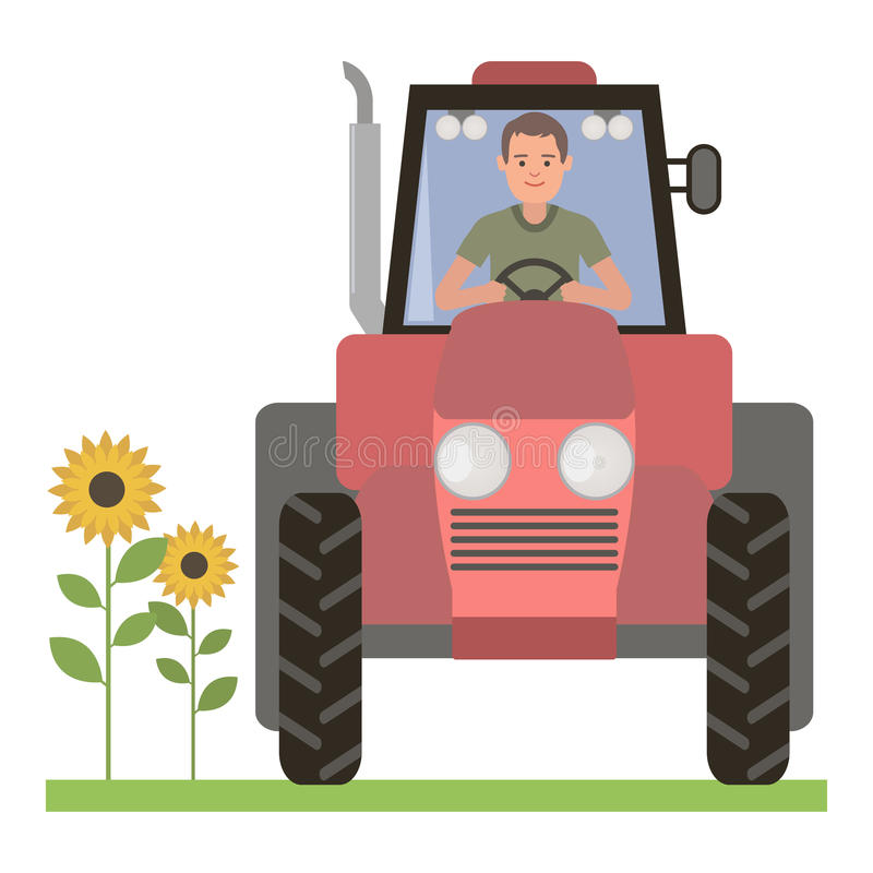 Driver behind the wheel of the tractor royalty free illustration