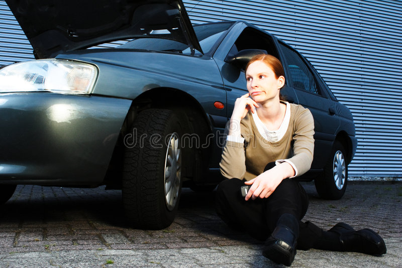 Download Driver With a Broken Car stock image. Image of single - 5517489