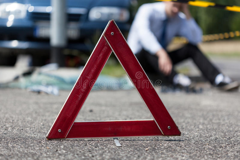 Driver after car crash. Waiting for help stock photo