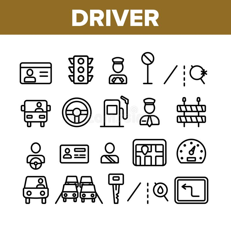 Driver Collection Car Elements Icons Set Vector royalty free illustration