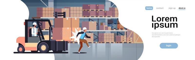 Driver del carrello elevatore che colpisce il lavoratore danneggiato pericoloso del driver logistico di trasporto del magazzino d royalty illustrazione gratis