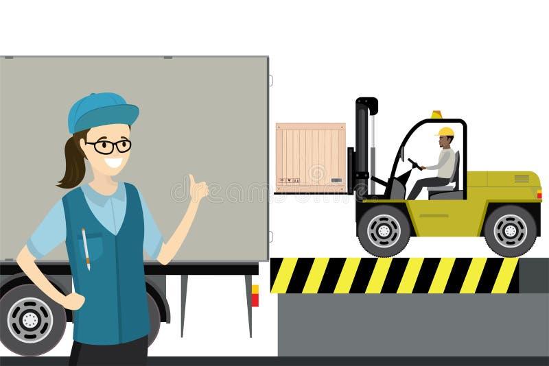 Driver del carrello elevatore sul lavoro in deposito royalty illustrazione gratis