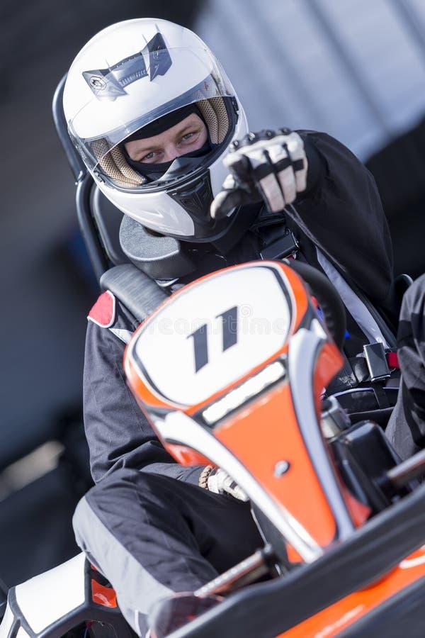 Driver di Karting pronto per la corsa fotografie stock libere da diritti
