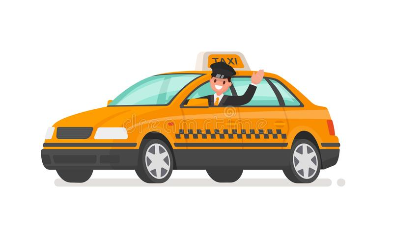Driver is driving a taxi car. Yellow cab. Vector illustration stock illustration