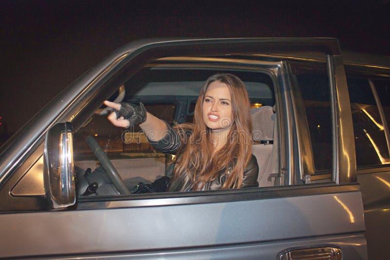 Driver femminile arrabbiato immagini stock libere da diritti