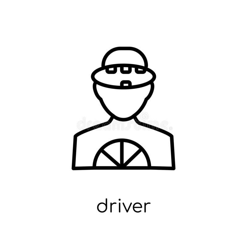 Driver icon. Trendy modern flat linear vector Driver icon on white background from thin line Professions collection vector illustration