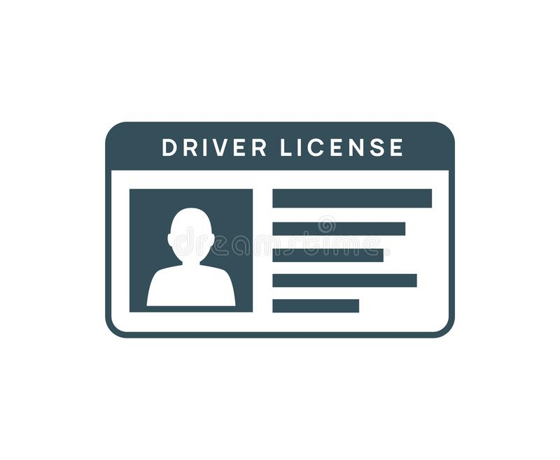 Driver licence icon. Driver id card vector license. Drive identity photo identification stock illustration