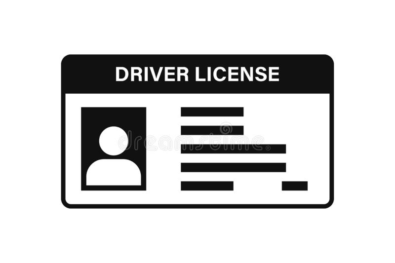 Driver license icon vector isolated white background. Drive identity photo identification. Isolated vector sign. Driver id card vector illustration