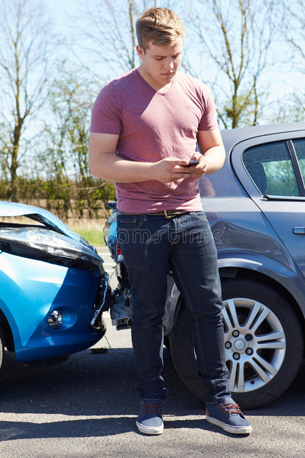 Download Driver Making Phone Call After Traffic Accident Stock Photo - Image: 31863978