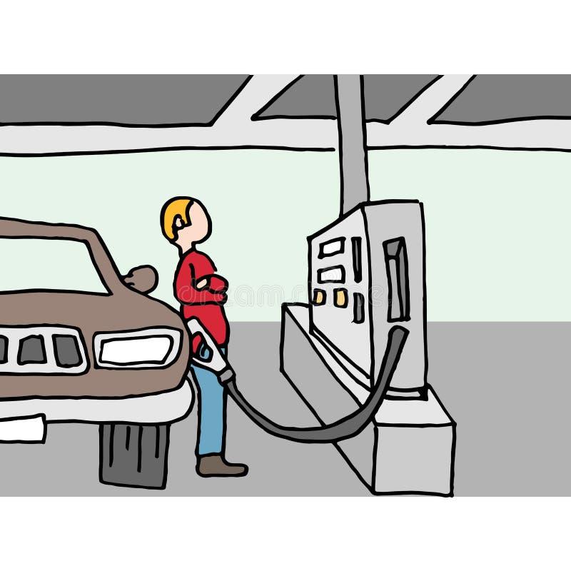 Driver pumping gas at station stock illustration