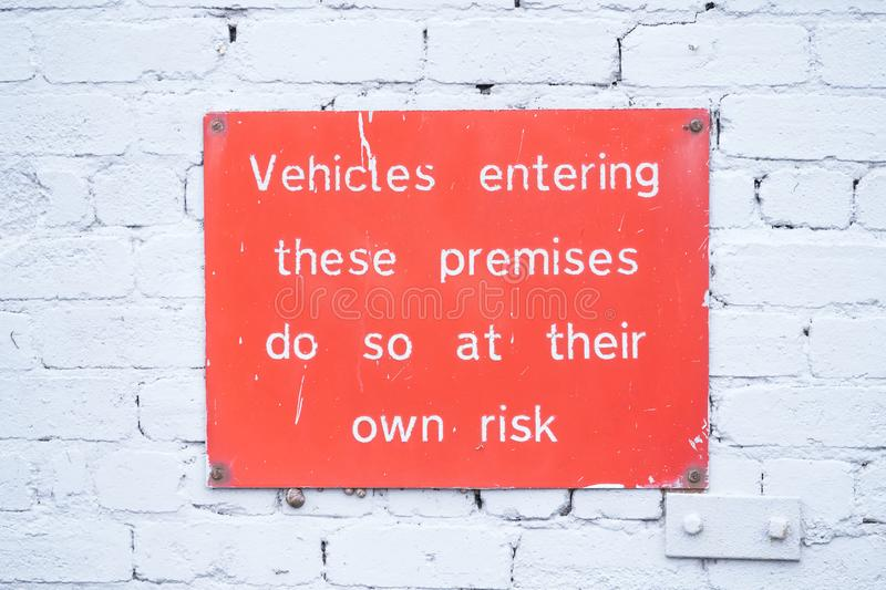 Driver responsible for car contents liable for theft or loss sign by management. Uk stock photo