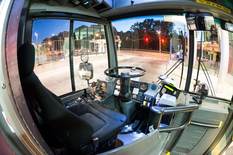 driver 39 s seat in a ttc bus in toronto editorial stock. Black Bedroom Furniture Sets. Home Design Ideas