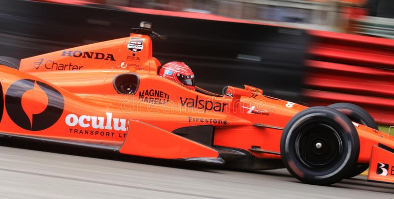 Driver Simon Pagenaud of France. French Indy Car Simon Pagenaud drives the Honda open wheeled race car royalty free stock photo