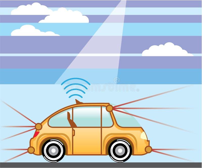 Driverless автомобиль Само-управлять автомобилем бесплатная иллюстрация