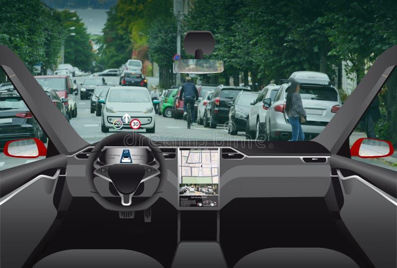 Driverless электрический автомобиль стоковые изображения rf