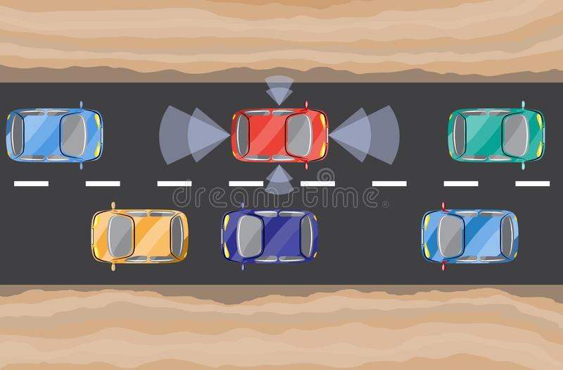 Driverless Auto, Auto, Ansicht von oben selbst-fahrend lizenzfreie abbildung