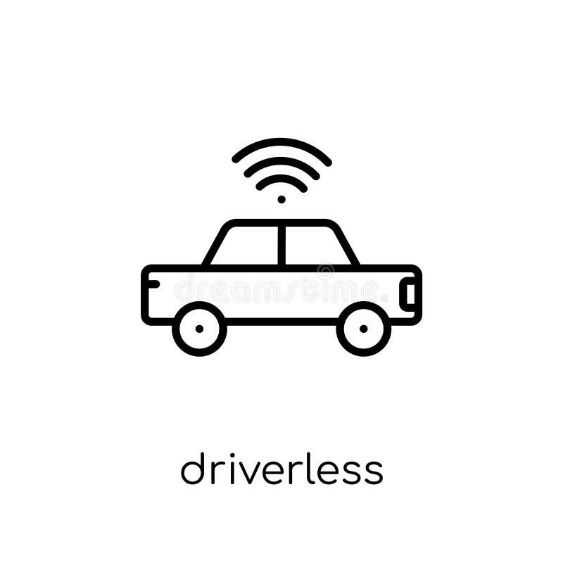 Driverless autonom bilsymbol  stock illustrationer