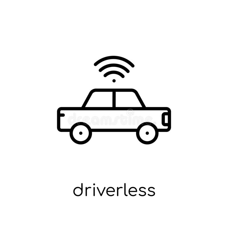 Driverless autonomous car icon. Trendy modern flat linear vector. Driverless autonomous car icon on white background from thin line Artificial Intelligence stock illustration