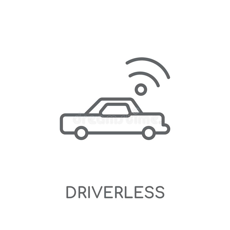 Driverless autonomous car linear icon. Modern outline Driverless royalty free illustration