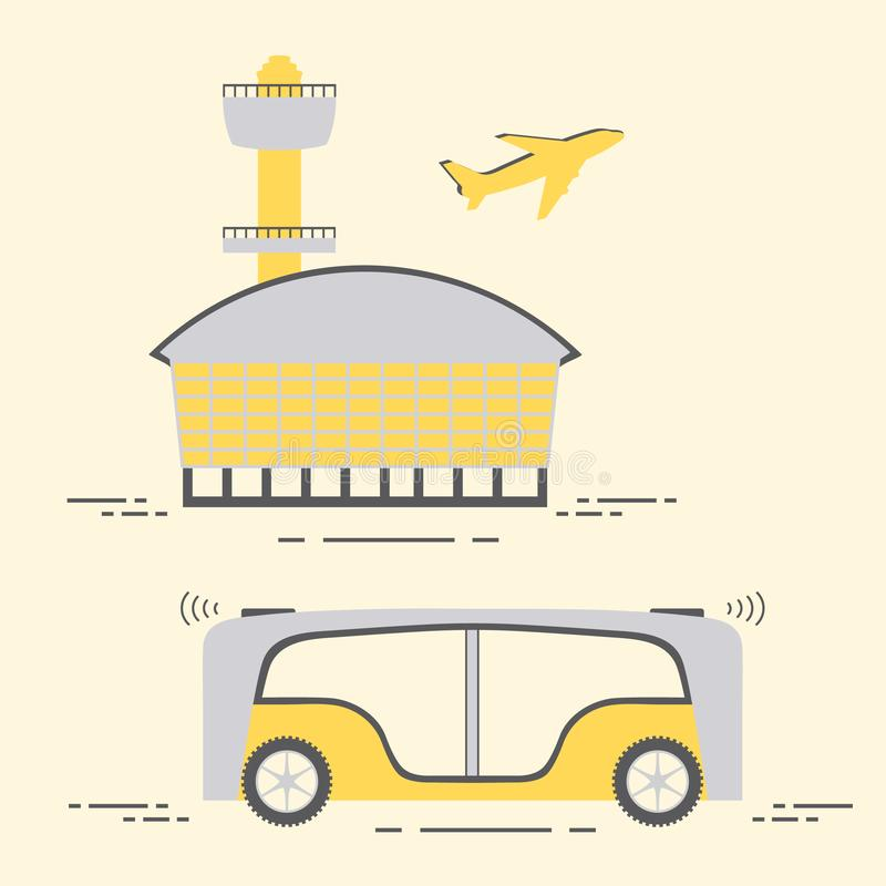 Driverless bus Airport New transport technologies. Self-driving transportation of passengers to airport. Automated bus, autonomous vehicle,  driverless bus royalty free illustration