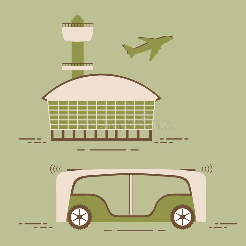 Driverless bus Airport New transport technologies. Vector. Self-driving transportation of passengers to airport. Automated bus, autonomous vehicle, driverless vector illustration