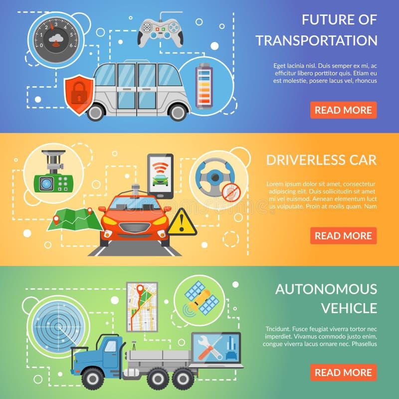 Driverless Car Autonomous Vehicle Banners royalty free illustration