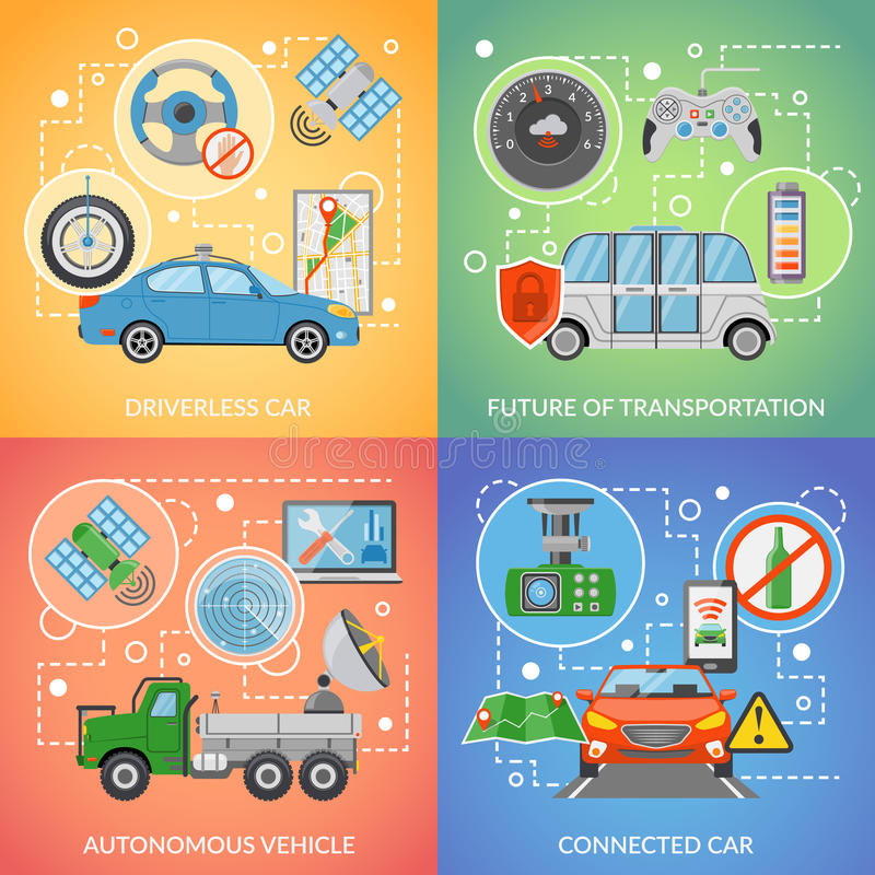 Driverless Car Autonomous Vehicle 2x2 Icons Set royalty free illustration