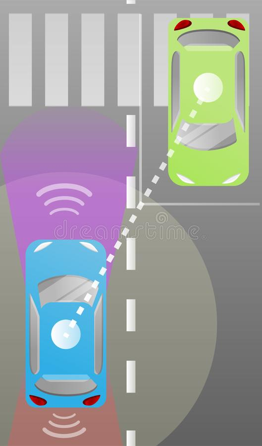Driverless car city scheme concept background, cartoon style royalty free illustration