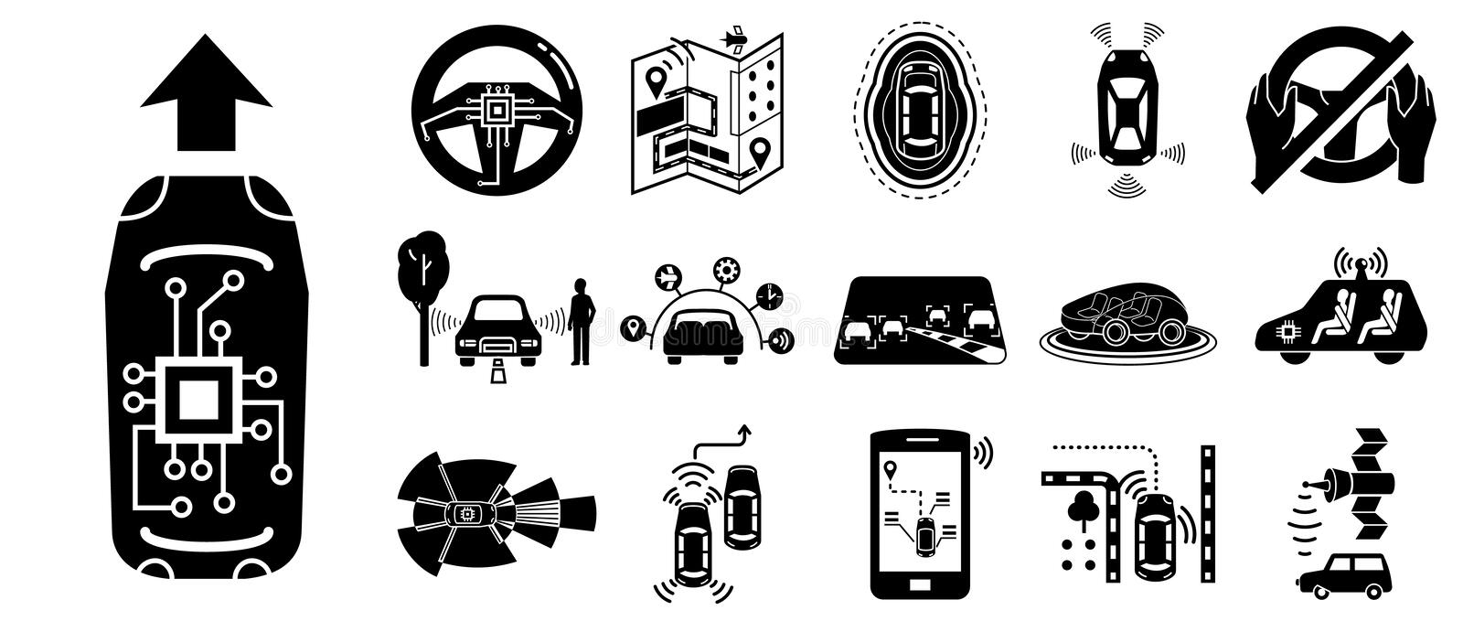 Driverless car icons set, simple style vector illustration