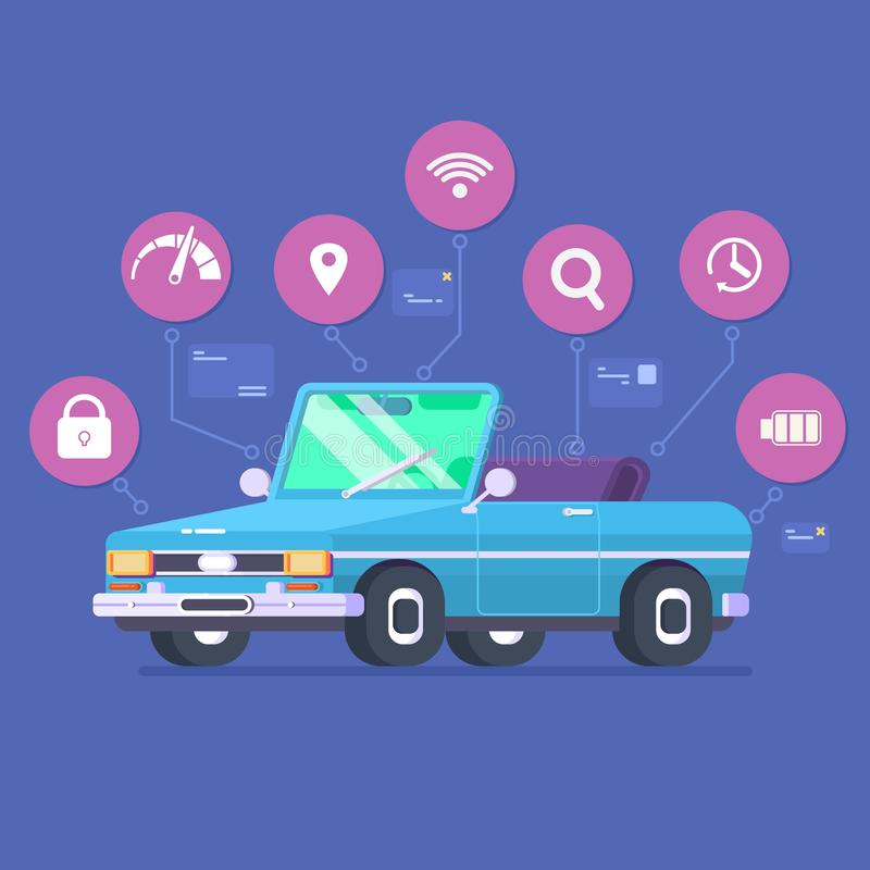 Driverless car technology features, autonomous vehicle system capability, internet of things road transport. Vector royalty free illustration