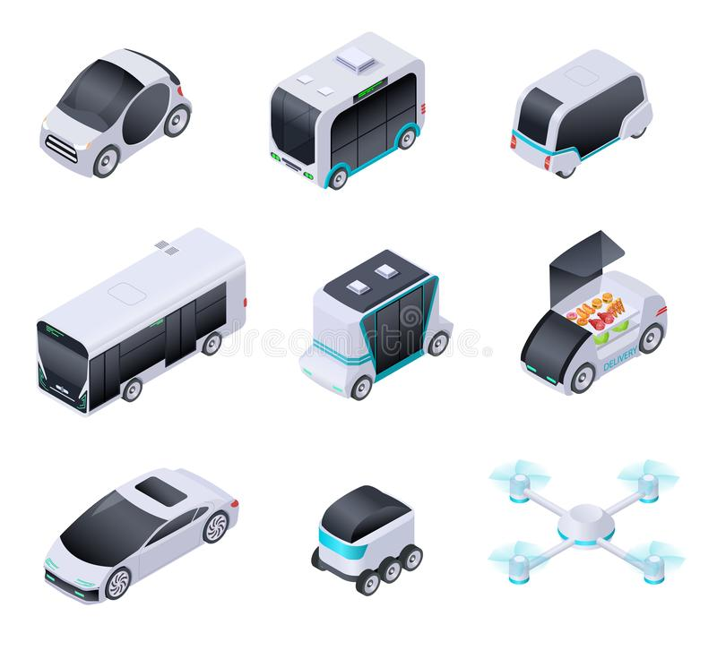 Driverless cars. Future smart vehicles. Unmanned city transport, autonomous truck and drone. Isometric vector isolated vector illustration