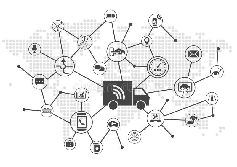 Driverless ciężarówek ciężarówki jako cyfrowy transportu pojęcie royalty ilustracja