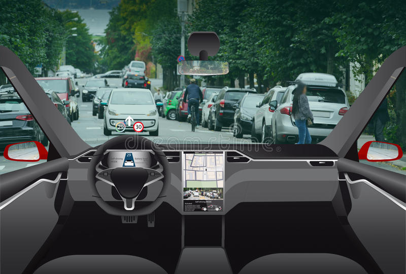 Driverless Elektroauto stockfotografie