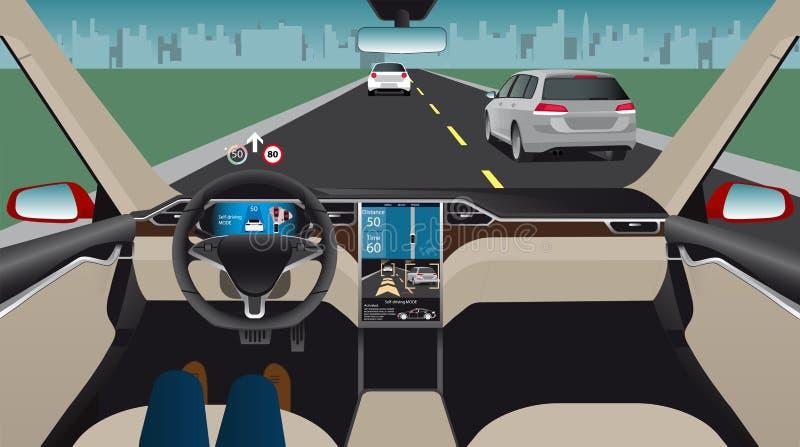 Driverless elektryczny samochód ilustracji