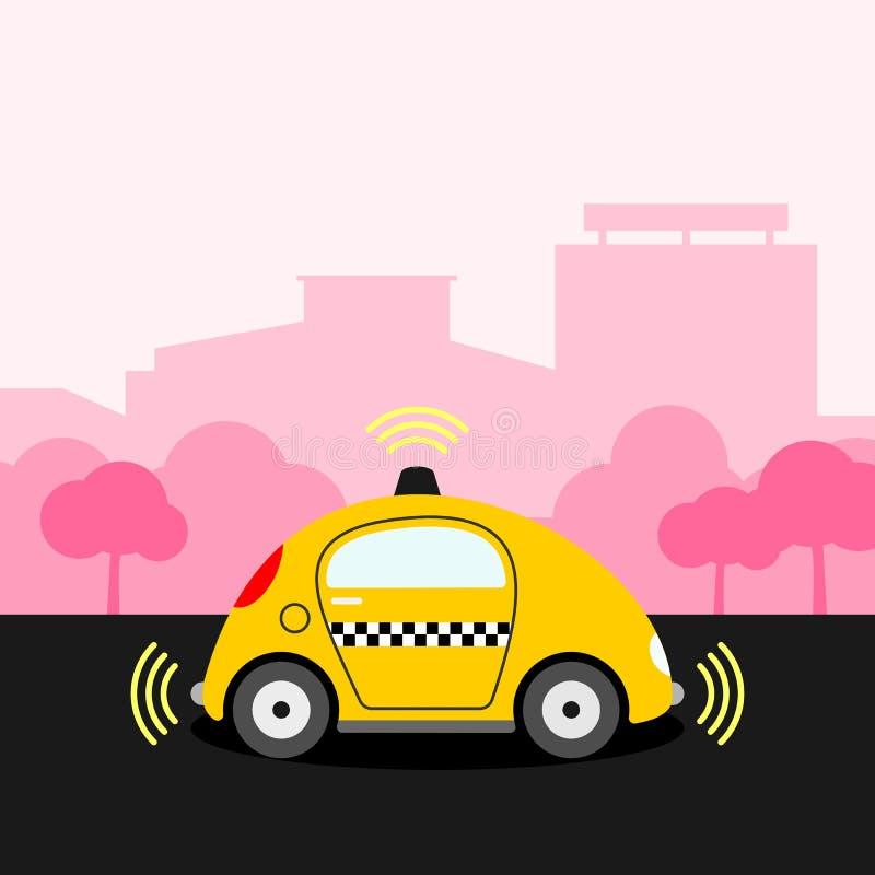 Driverless gul illustration för taxitaxi vektor illustrationer