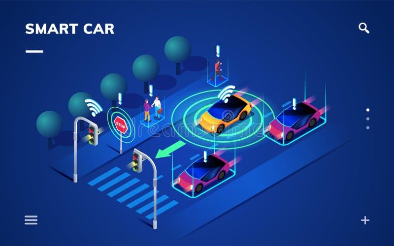Driverless oder Selbst Auto an der Straße, Automobil fahrend stock abbildung